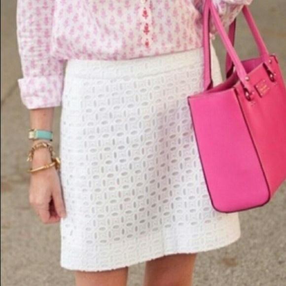 J. Crew Dresses & Skirts - J Crew White Eyelet Lace Mini Skirt Size 6